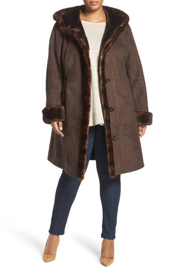 Gallery Faux Shearling A-Line Coat (Plus Size)