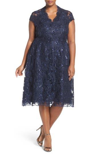 Brianna Sequin Lace V-Neck Dress (Plus Size)