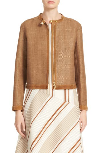 Lafayette 148 New York Makena Suede Trim Raffia Weave Jacket