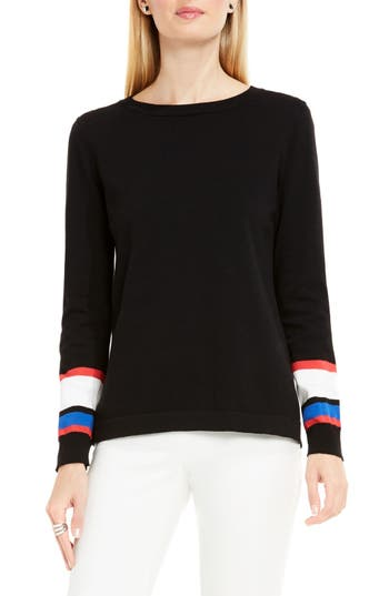 Vince Camuto Stripe Cuff Sweater (Regular & Petite)