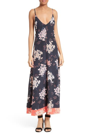 Rebecca Taylor Phlox Print Silk Maxi Slipdress