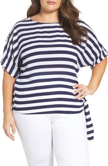 MICHAEL Michael Kors Stripe Side Tie Top (Plus Size)