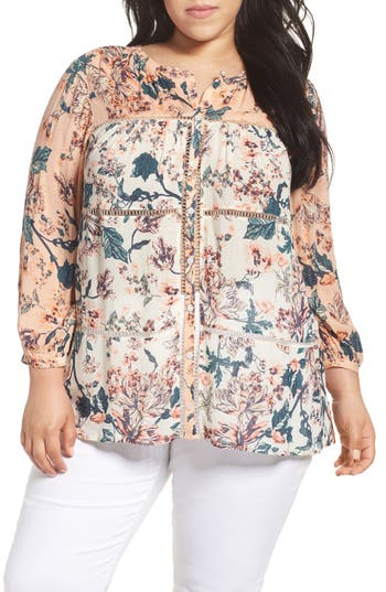 Lucky Brand Mixed Floral Print Top (Plus Size)