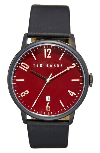 Ted Baker London Round Leather Strap Watch, 42mm