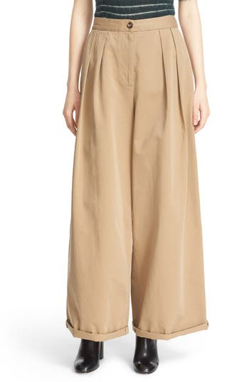 Moncler Wide Leg Cotton Chino Pants