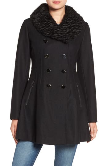 Guess Fit & Flare Coat with Faux Fur Collar
