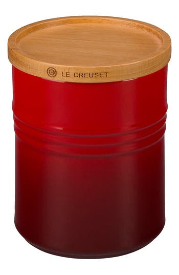 Le Creuset Glazed Stoneware 2 1/2 Quart Storage Canister with Wooden Lid