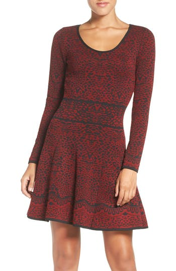 Fraiche by J Intarsia Fit & Flare Sweater Dress