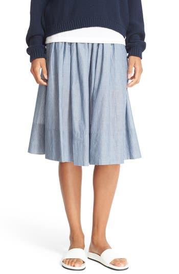 Vince Shirred Stripe Full Cotton Skirt