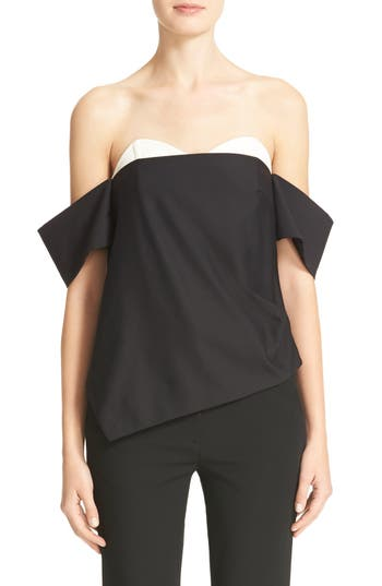 Tibi Stretch Faille Contrast Off the Shoulder Corset Top