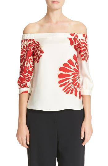 Tibi Orla Bloom Silk Off the Shoulder Top