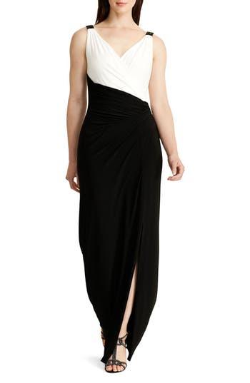 Lauren Ralph Lauren Colorblock Jersey Faux Wrap Column Gown
