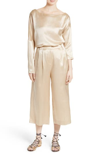 Tibi Asymmetrical Off the Shoulder Silk Top