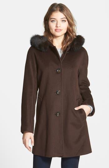 Ellen Tracy Kimono Sleeve Jacket with Genuine Fox Fur Trim (Online Only)