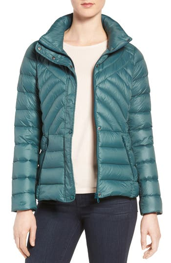 Halogen® Stand Collar Droptail Puffer Jacket