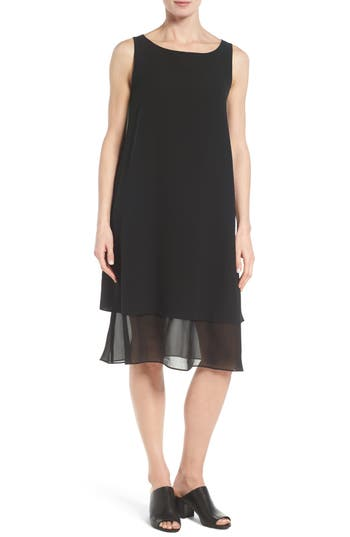 Eileen Fisher Silk Georgette Shift Dress
