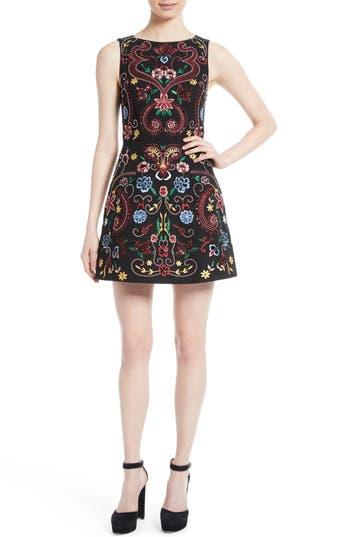 Alice + Olivia Lindsey Embroidered A-Line Dress