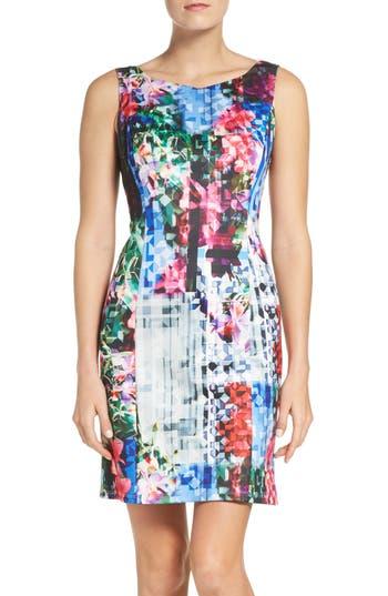 Adrianna Papell Print Scuba A-Line Dress