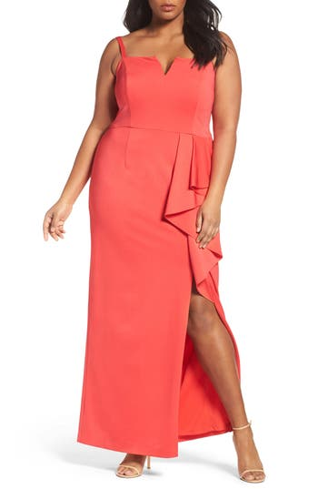 Adrianna Papell Jersey Column Gown (Plus)