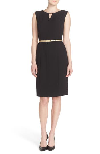 Ellen Tracy Belted Sheath Dress (Regular & Petite)