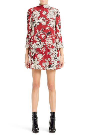 Valentino 'Enchanted' Floral Print Stretch Silk Dress
