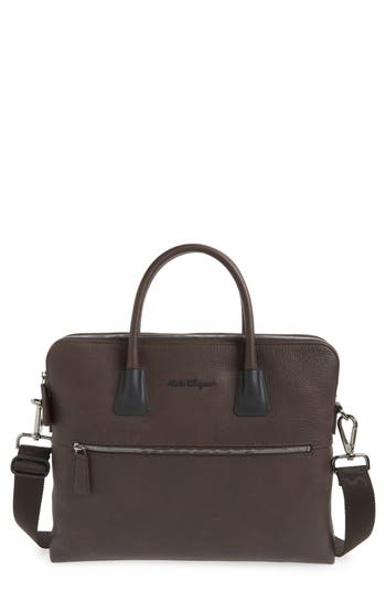 Salvatore Ferragamo 'Icaro' Double Compartment Calfskin Leather Briefcase