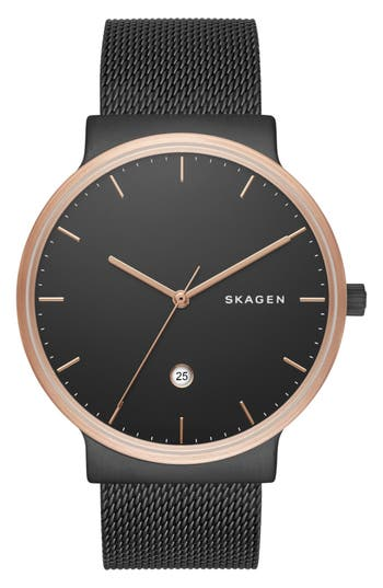 Skagen 'Ancher' Round Mesh Strap Watch, 40mm