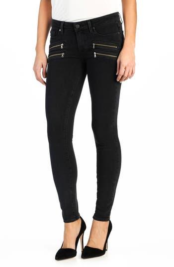 PAIGE 'Transcend - Edgemont' Zip Front Ultra Skinny Jeans (Black Fog)