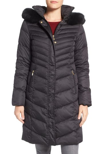 Ellen Tracy Quilted Down Coat with Genuine Fox Fur Trim