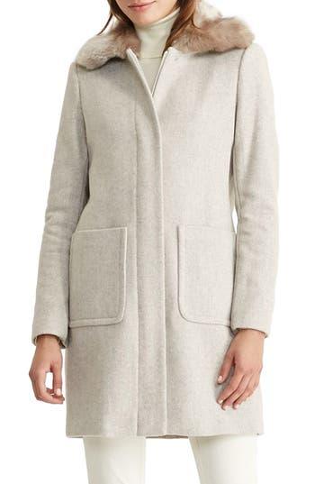 Lauren Ralph Lauren Wool Blend Coat with Faux Fur Collar (Regular & Petite)