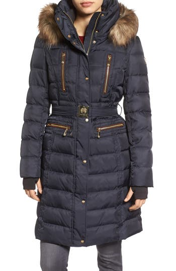 Vince Camuto Quilted Coat with Faux Fur Trim