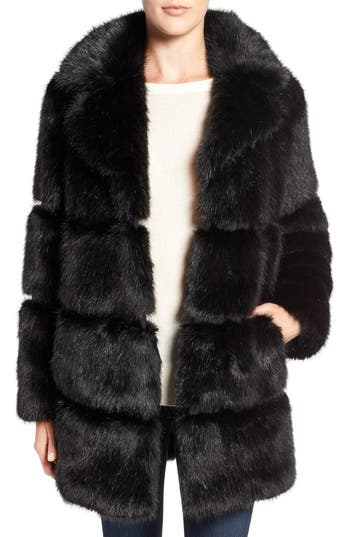 kate spade new york grooved faux fur coat