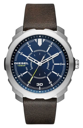 DIESEL® Machinus NSBB Leather Strap Watch, 46mm