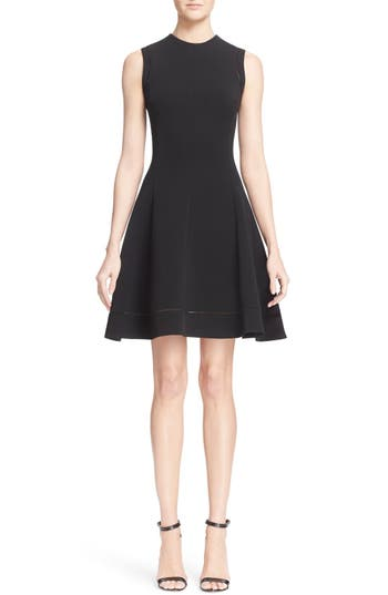 Victoria Beckham Rib Knit Fit & Flare Dress