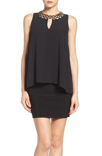 Laundry by Shelli Segal Embellished Chiffon & Jersey Popover Dress