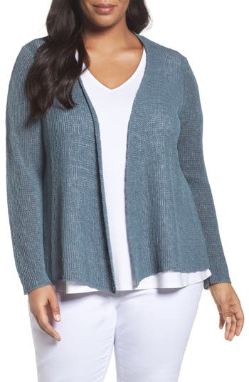 Eileen Fisher Organic Linen & Cotton Cardigan (Plus Size)