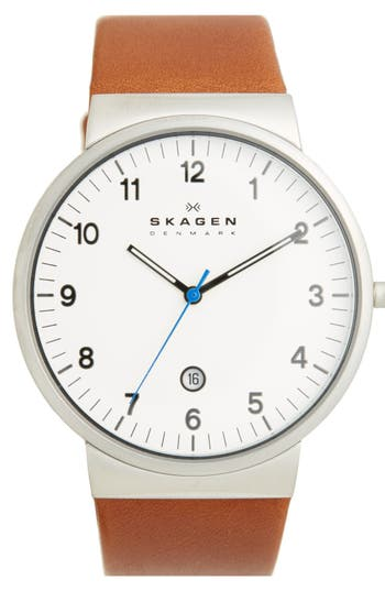 Skagen 'Ancher' Round Leather Strap Watch, 40mm