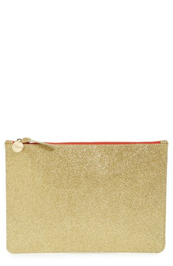 Clare V. Glitter Leather Zip Clutch