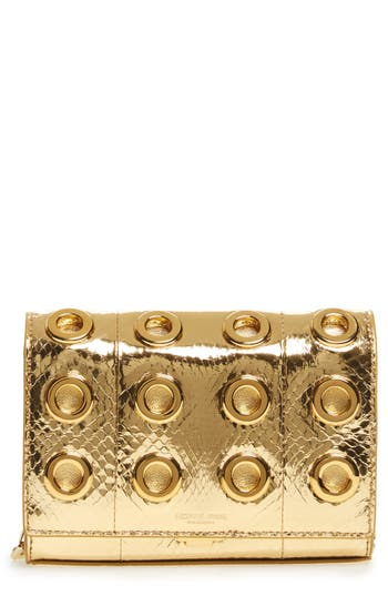 Michael Kors Small Yasmeen Metallic Genuine Snakeskin Clutch