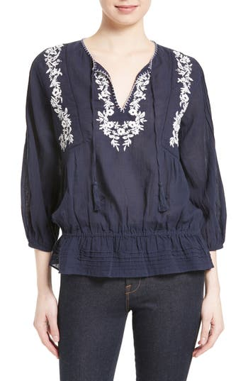 Joie Embroidered Cotton Peasant Blouse