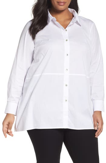 Eileen Fisher Stretch Cotton Classic Collar Shirt (Plus Size)
