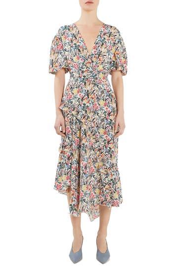 Topshop Unique Aster Silk Midi Dress