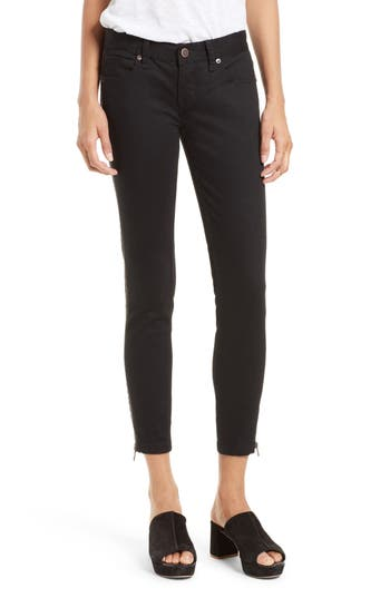Free People Levon Side Zip Crop Skinny Jeans (Washed Black)