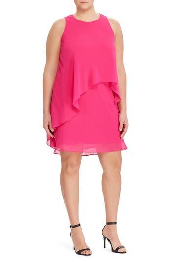 Lauren Ralph Lauren Georgette Overlay Shift Dress (Plus Size)