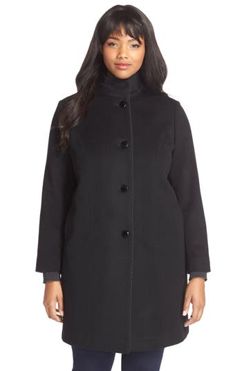 Fleurette Piped Wool & Cashmere Stand Collar Coat (Plus Size)