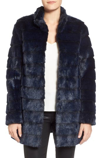 Laundry by Shelli Segal Grooved Faux Fur Coat (Regular & Petite)