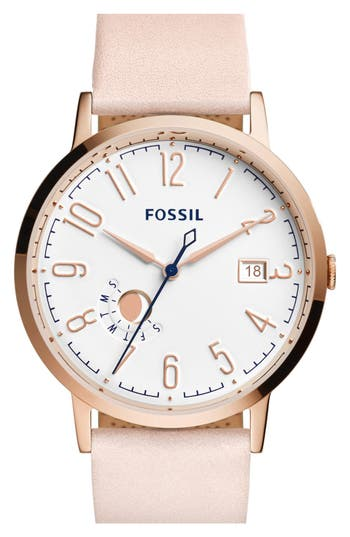 Fossil 'Vintage Muse' Leather Strap Watch, 40mm
