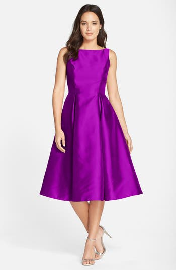 Adrianna Papell Sleeveless Mikado Fit & Flare Midi Dress (Regular & Petite)
