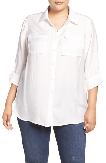 Two by Vince Camuto Rumpled Utility Shirt (Plus Size)