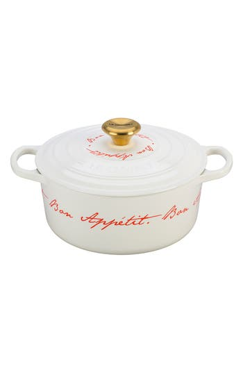 Le Creuset 'Bon Appétit - Gold Knob' 4 1/2 Quart Round Enamel Cast Iron French/Dutch Oven